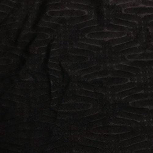 Embossed Diamond Ovals Spandex, embossed fabric, black embossed fabric