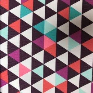 Multi colored Triangles, triangle print, spandex print, printed spandex