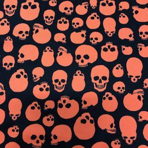 halloween print, spooky halloween print, skull print, printed spandex fabric, spandex halloween print, halloween print on spandex, black and orange halloween print