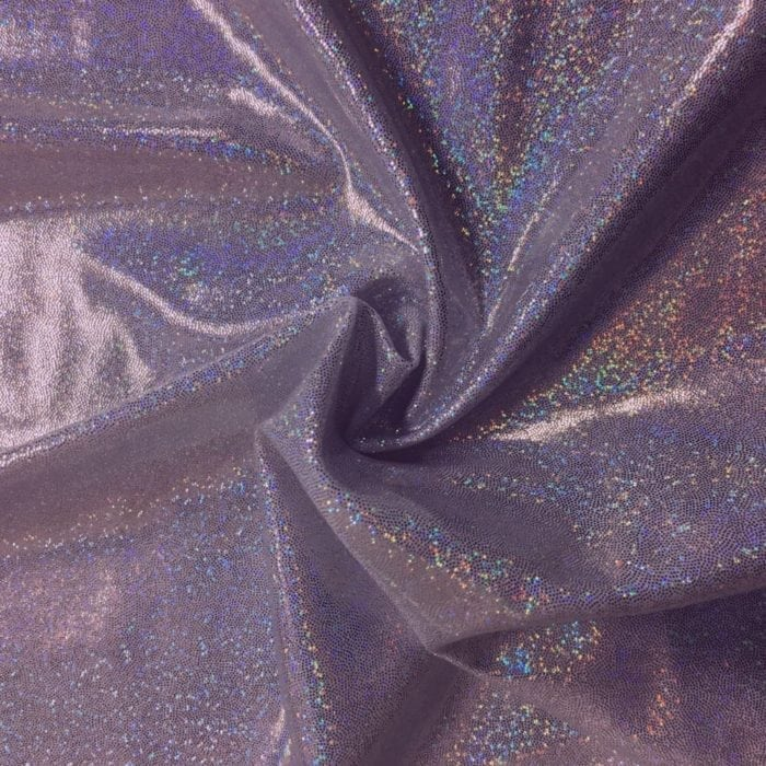 Lilac Sparkly Jewels Spandex, sparkly hologram fabric, sparkly hologram spandex, holographic spandex fabric, hologram fabric, purple fabric, gymnastics fabric