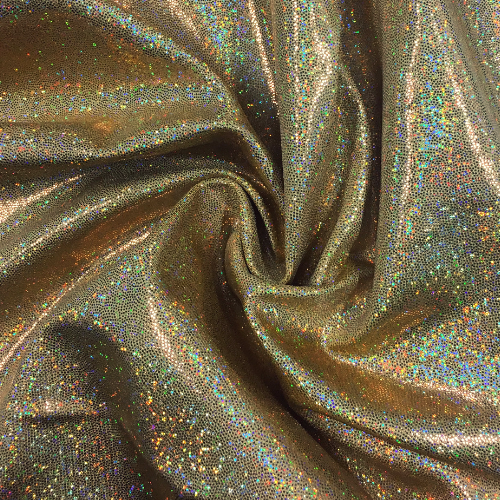 Gold Sparkly Jewels Spandex, sparkly hologram fabric, hologram fabric, gold fabric, gymnastics fabric, dance fabric