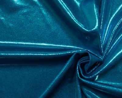 flat foiled tricot, Turquoise flat foiled tricot, flat foiled spandex tricot, flat foiled spandex fabric, flat foiled spandex