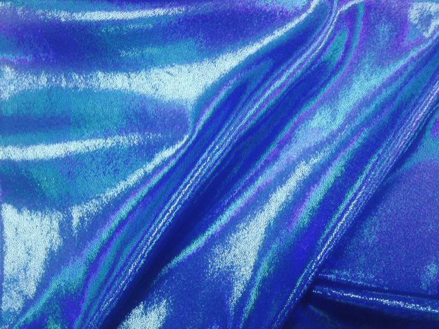 Blueberry Bulb Starlet Hologram Tricot, liquid shine spandex fabric, liquid shine tricot fabric, stretchy liquid shine, strechy holographic fabric