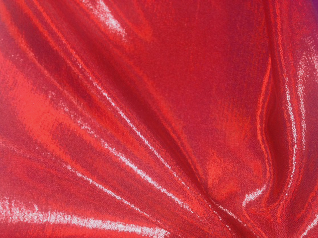 Heatlamp Red Starlet Hologram Tricot, liquid shine spandex fabric, liquid shine tricot fabric, stretchy liquid shine, strechy holographic fabric