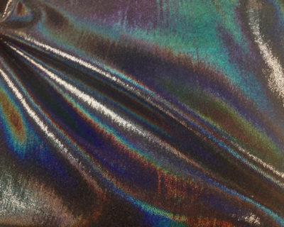 Black Blacklight Starlet Hologram Tricot, liquid shine spandex fabric, liquid shine tricot fabric, stretchy liquid shine, strechy holographic fabric