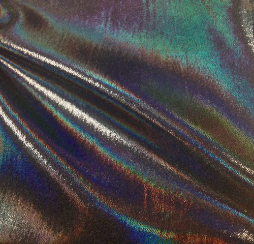 Black Blacklight Starlet Hologram Tricot, liquid shine spandex fabric, liquid shine tricot fabric, stretchy liquid shine, strechy holographic fabric