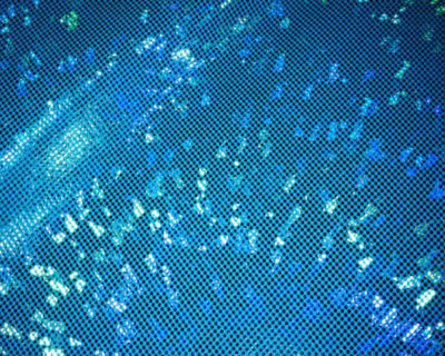 Turquoise Kaleidoscope Sparkly Hologram Spandex, shattered glass foil tricot, shattered glass foil fabric, stretchy shattered glass foil