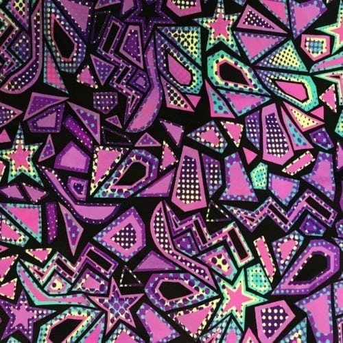 Purple Comic Shapes Spandex, Geometric fabric, discount fabric