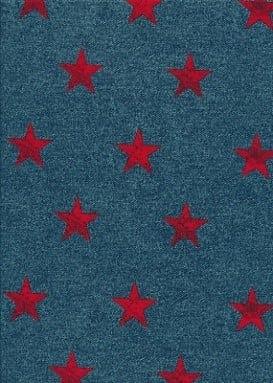 Distressed Red Star Print, star fabric, distressed fabric