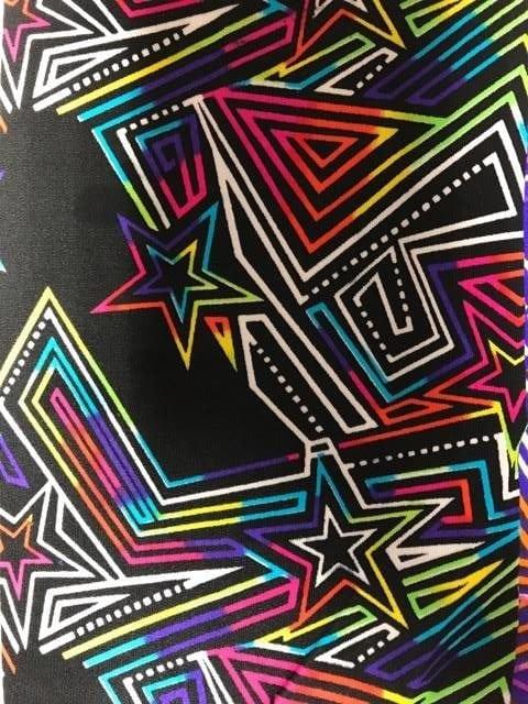 Rainbow Maze Runner Spandex, geometric fabric, star fabric