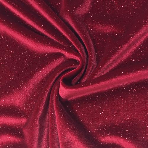 Red Twinkle Velvet Spandex, red velvet fabric, glitter velvet fabric, stretch velvet fabric, red fabric