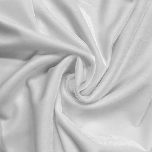 White Radiance Velvet Spandex, white velvet, velvet fabric, white velvet fabric, stretch velvet, white fabric