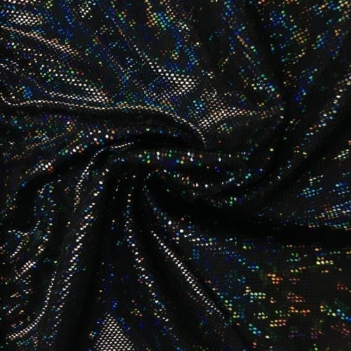 Black Kaleidscope Holographic Spandex, Black fabric, hologram fabric, holographic fabric, dance fabric, gymnastics fabric