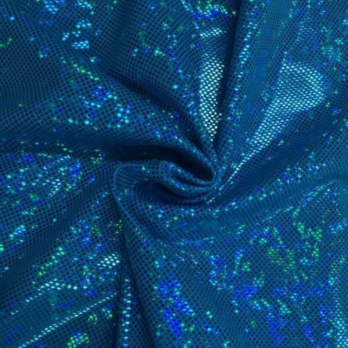 Turquiose Kaleidscope Holographic Spandex, blue fabric, hologram fabric, holographic fabric, dance fabric, gymnastics fabric