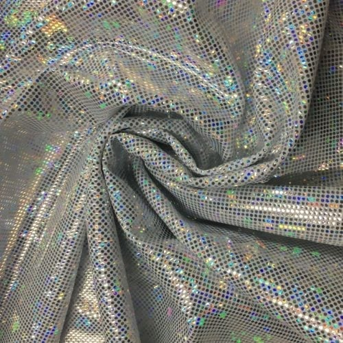 White Silver Kaleidscope Holographic Spandex, Silver fabric, hologram fabric, holographic fabric, dance fabric, gymnastics fabric