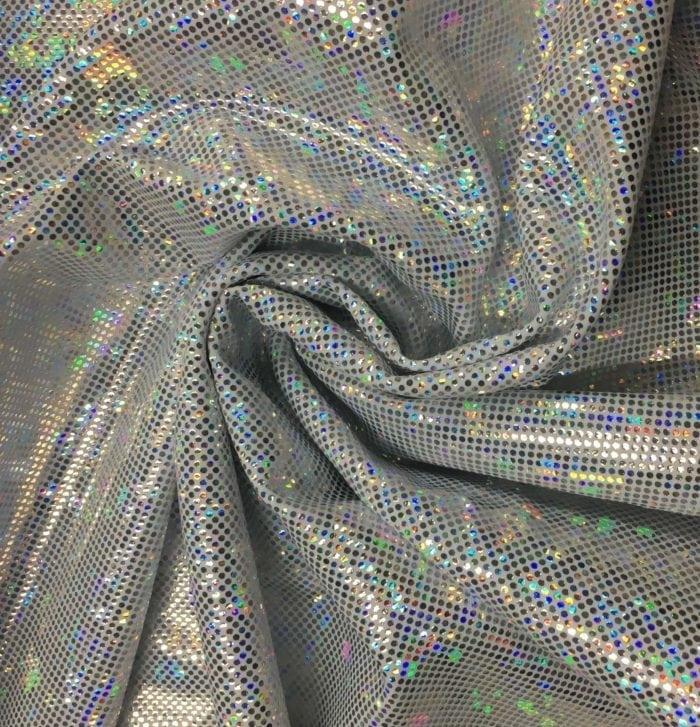 White Silver Kaleidscope Holographic Spandex, Silver fabric, hologram fabric, holographic fabric, dance fabric, gymnastics fabric