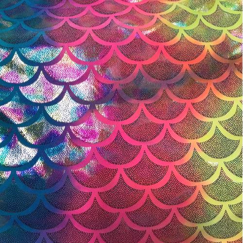 Rainbow Mermaid Scales Spandex, mermaid scale fabric, mermaid fabric, rainbow fabric