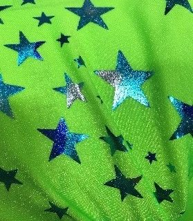 Lime Foiled Stared Fabric, Foiled Stared Fabric