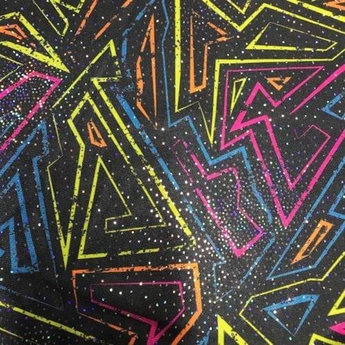 Abstract Neon Maze Spandex, Abstract Neon Maze, neon abstarct maze fabric, wholesale performance wear, wholesale dancewear