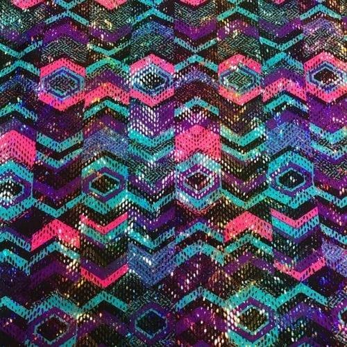 X's and O's Foiled Spandex Fabric, X's and O's Foiled Fabric, wholesale foiled fabric