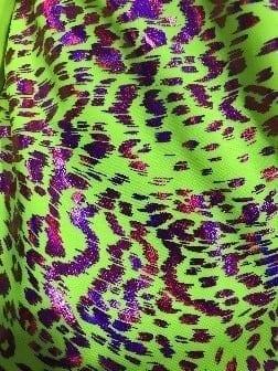 Bright Neon Leopard Print Spandex, Neon Leopard Print