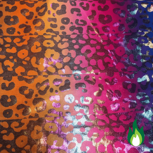 Multi Cheetah Foiled Spandex, Multi Cheetah, wholesale trendy fabric, stretch fabrics, wholesale stretch fabric, trendy foil performance wear fabrics