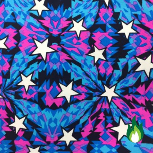 Kaleidoscope stars fabric, star print fabric, neon stars fabric
