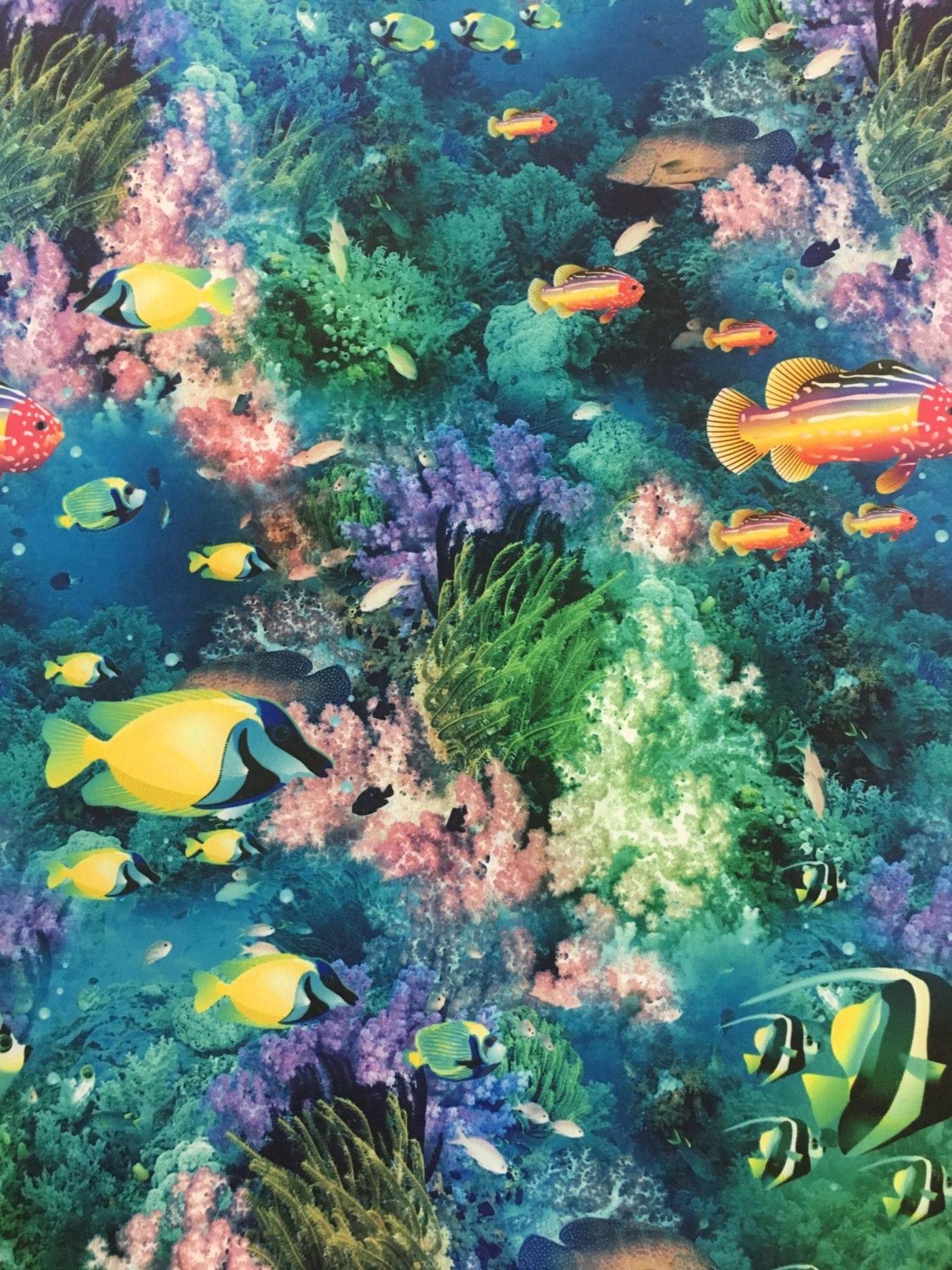 Aquatic Print Spandex, Fish Print Spandex, Ocean Print Spandex