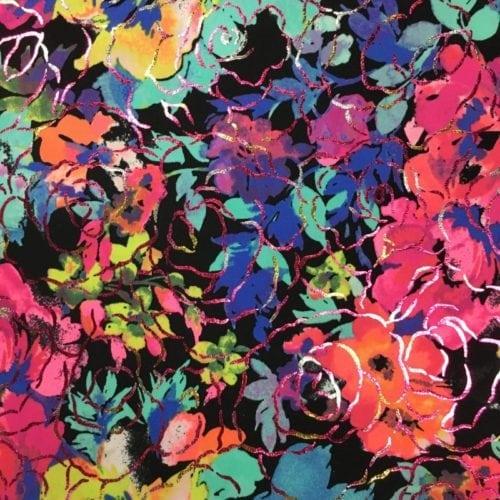 Neon Print Spandex, Floral Spandex, Neon Floral Spandex