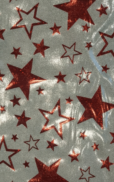 Foil fabric, red stars fabric, independence day fabric