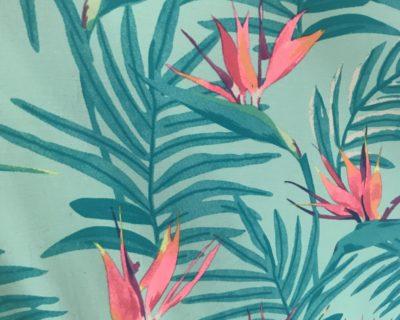 Hawaiian Floral Fabric, Floral Leave Fabric, Hawaiian Print Fabric