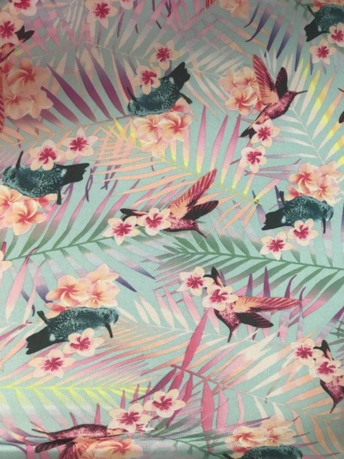 Bird Print Fabric, Hummingbird Print Fabric, Floral Bird Fabric