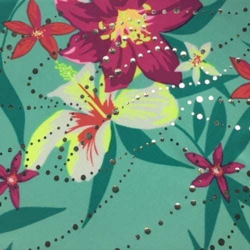 Mint Whimsy Foil Fabric, Hawaiian print fabric, shiny Hawaiian fabric