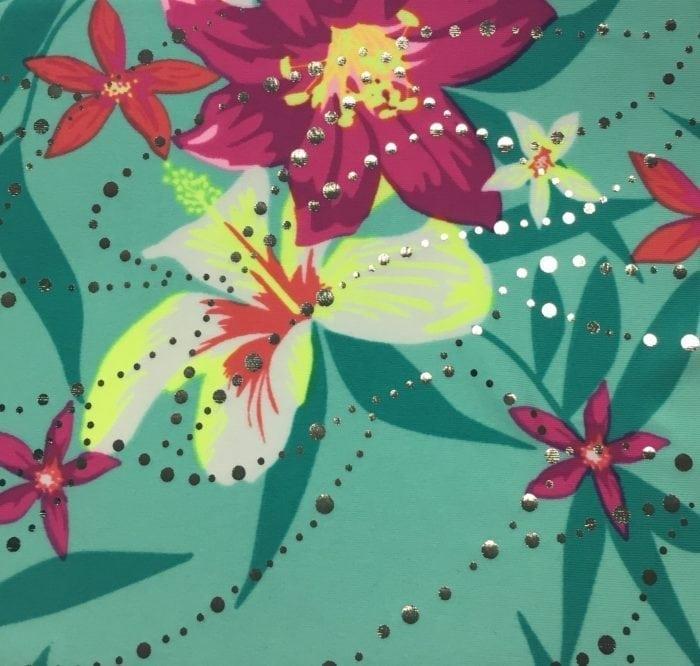 Mint Whimsy Foil Fabric, Hawaiian print fabric, shiny Hawaiian fabric