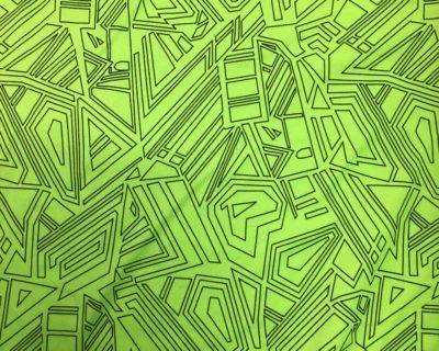 Lime Geometric Print fabric, Geometric print fabric, bright geometric fabric
