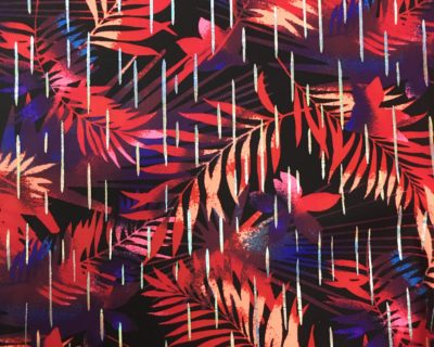 Vintage Hawaiian Red fabric, vintage ahwaiian print fabric, hawaiian print fabric
