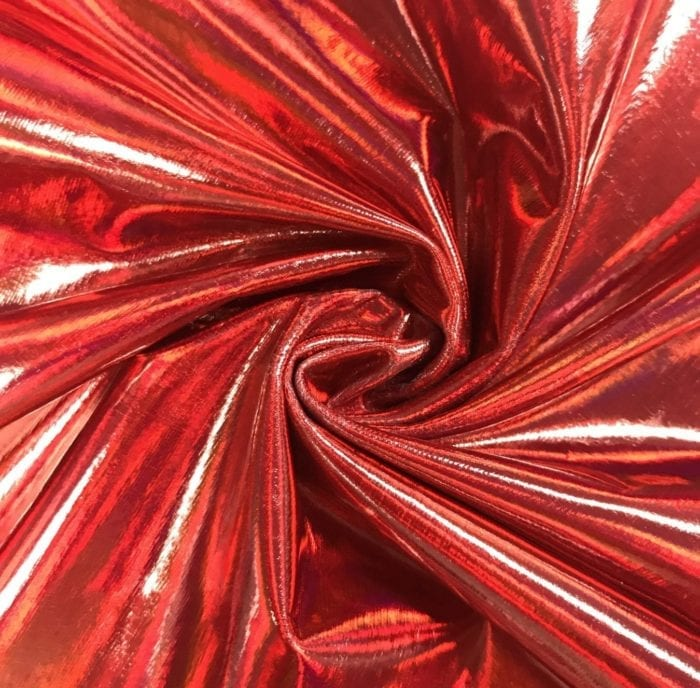 Red Liquefy Spandex, red hologram fabric, red hologram spandex