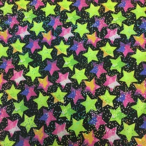 Stars Silver Hologram Spandex, Star fabric, Star spandex