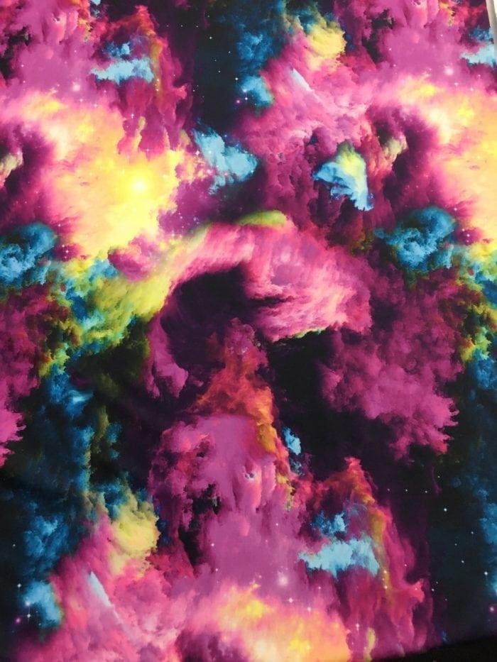 Watercolor Clouds Spandex, Galaxy fabric, Galaxy spandex