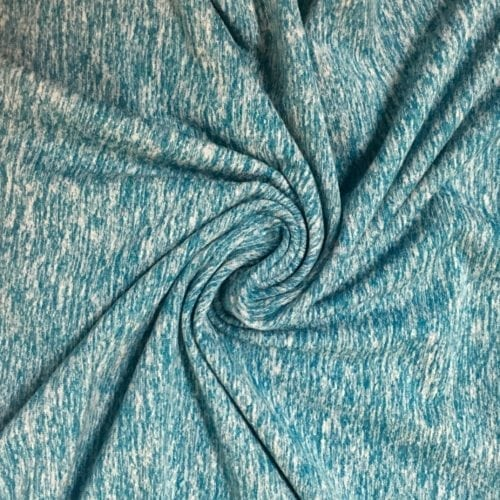 Enamel Blue Jersey Moss Spandex, Blue heather fabric, discount fabric