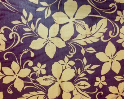 Hawaiian Sunset Burgundy Mesh, Hawaiian Print Mesh, Hawaiian fabric