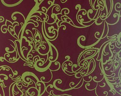 Burgundy Paisley Floral Spandex, Paisley Fabric, Burgundy fabric