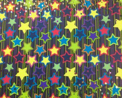 Glowing Stars Foil Spandex, star fabric, dance fabric