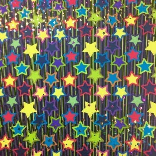 Glowing Stars Foil Spandex, star fabric, dance fabric