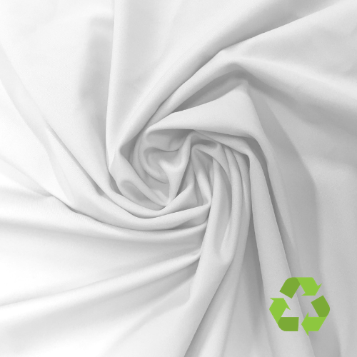 White Virtue Repreve® Recycled Polyester Spandex, Recycled fabric, virtue spandex, repreve fabric, eco friendly fabric