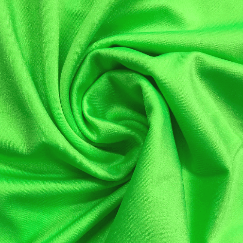 Flo Green Shiny Tricot Spandex, green fabric, dance fabric, swim fabric, cheer fabric