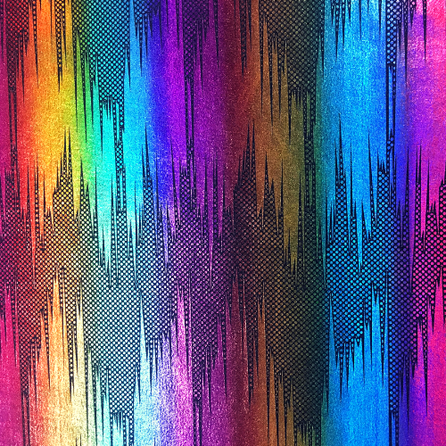 Rainbow Zig Zag Holo Spandex, rainbow fabric, dance fabric, wholesale dance fabric, holographic fabric
