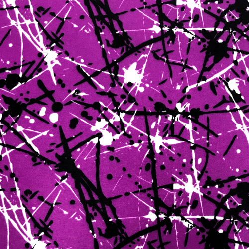 Purple Paint Splatter Spandex, paint splatter fabric, purple fabric, discount fabric