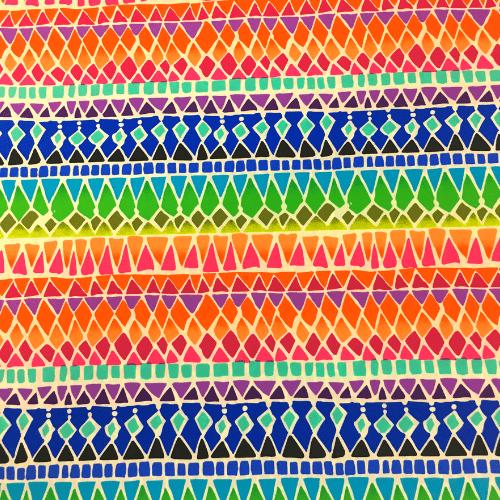 Tribal Rainbow Spandex, rainbow fabric, zig zag fabric, discount fabric