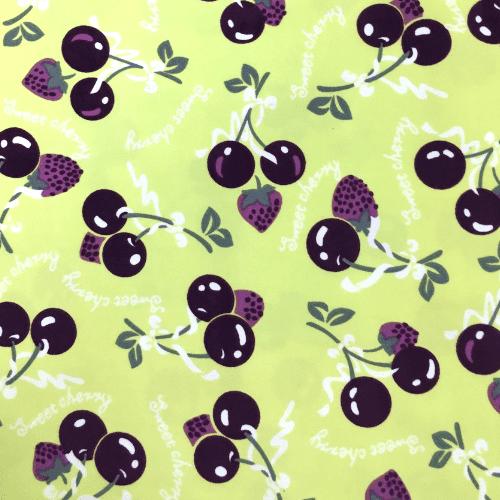Purple Cherry Spandex, cherry fabric, fruit fabric, discount fabric